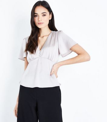 Grey Satin Button Front Top