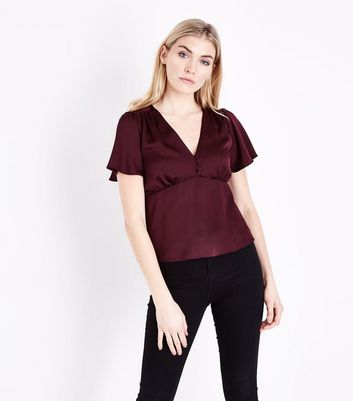 Burgundy Satin Button Front Blouse
