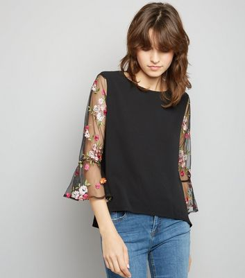 Apricot Black Floral Embroidered Mesh Sleeve Top