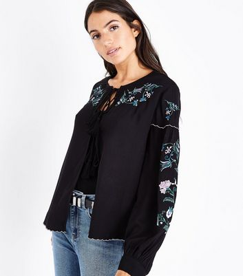 Black Embroidered Tassel Tie Cover Up