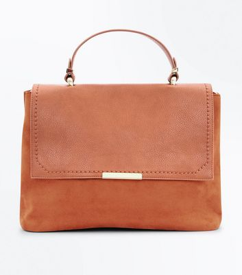 Tan Suedette Satchel Bag