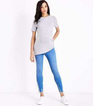Maternity Bright Blue Fray Hem Under Bump Skinny Jeans
