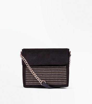 Black Studded Micro Chain Shoulder Bag