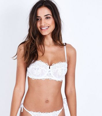 White Lace Floral Embroidered Bra