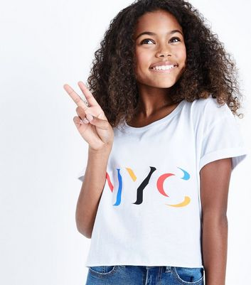 Teens White NYC Slogan Crop T-Shirt