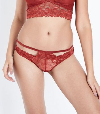 Dark Red Lace Brazilian Briefs
