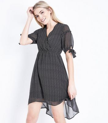 Black Geometric Print Wrap Front Dip Hem Dress