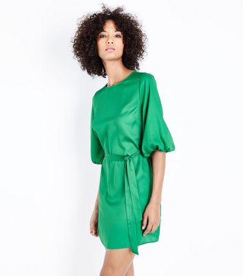 Green Satin Puff Sleeve Belted Tunic Dress