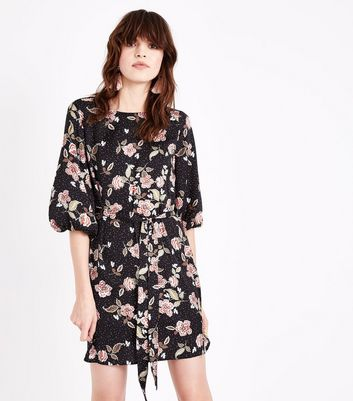 Black Floral Balloon Sleeve Tunic Dress