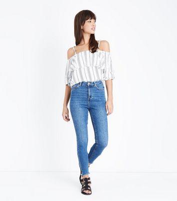 ... Blue High Rise Fray Hem Super Skinny Dahlia Jeans