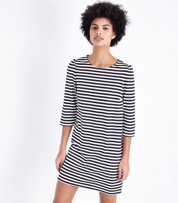 Blue Stripe Puff Sleeve Jumper Dress