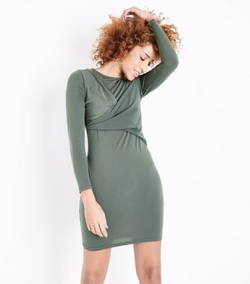 Khaki Wrap Front Long Sleeve Bodycon Dress