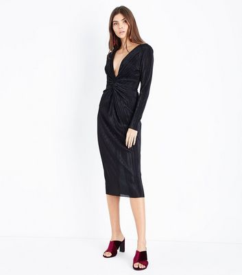 Black Knot Front Plisse Midi Dress