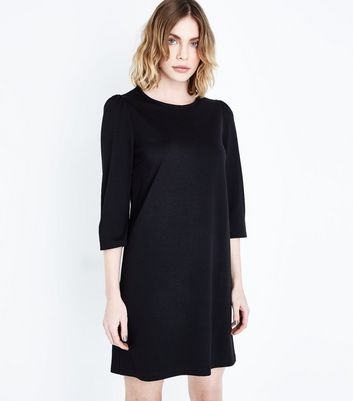 Black Puff Sleeve Jersey Tunic Dress