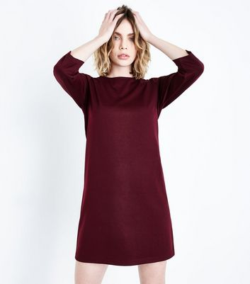 Burgundy Puff Sleeve Jersey Tunic Dress