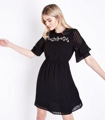 Black Embroidered Stripe Chiffon Frill Sleeve Dress
