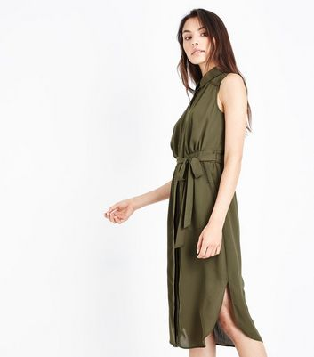 Khaki Ladder Trim Sleeveless Shirt Dress