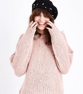 Pink Pearl Embellished Slouchy Jumper