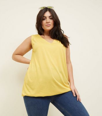 Curves Yellow V Neck Bubble Hem Vest