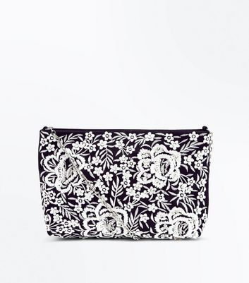 Black Floral Embroidered Cross Body Bag