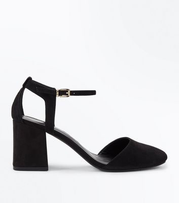 Black Suedette Cut Out Back Round Toe Heels