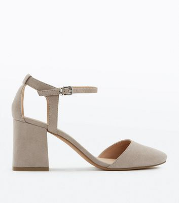 Grey Suedette Cut Out Back Round Toe Heels
