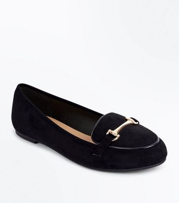 Black Suedette Piped Bar Front Loafers