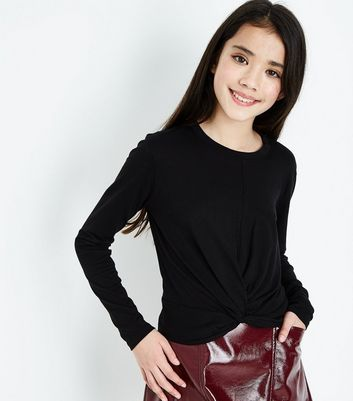 Teens Black Twist Front Long Sleeve Top