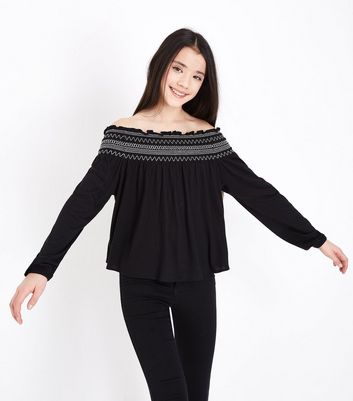 Teens Black Shirred Long Sleeve Top