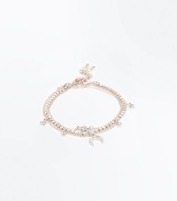 Rose Gold Star Layered Anklet by New Look