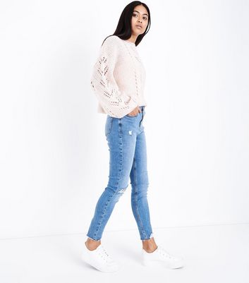 Petite Blue Ripped Button Front High Waist Skinny Jeans