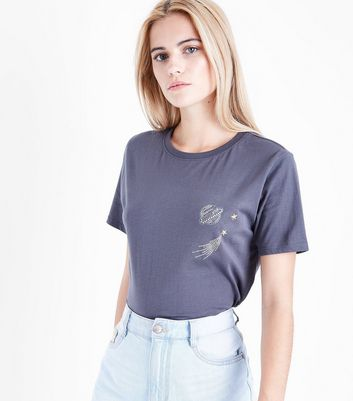 Dark Grey Rhinestone Planet T-Shirt