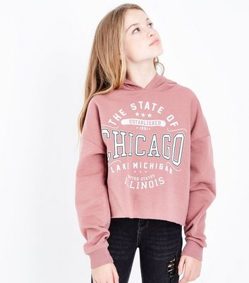 Teens Pink Chicago Logo Front Hoodie
