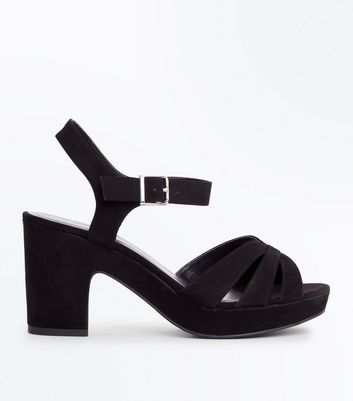 Wide Fit Black Suedette Platform Block Heels