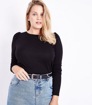 Curves Black Puff Shoulder Long Sleeve Top