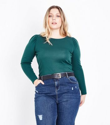 Curves Green Puff Shoulder Long Sleeve Top