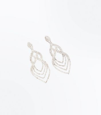 Silver Crystal Embellished Loop Chandelier Earrings by New Look