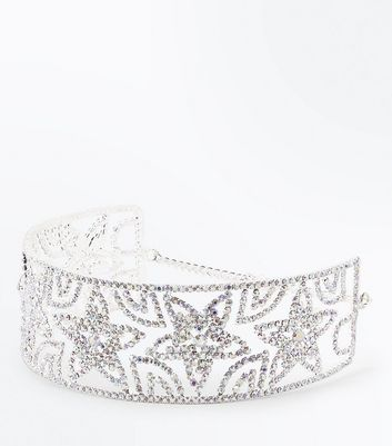Silver Star Diamante Embellished Choker