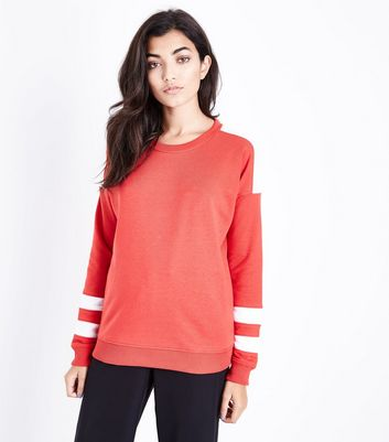 Red Colour Block Sleeve Sweatshirt