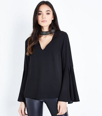 Tall Black Beaded Choker Neck Flare Sleeve Top