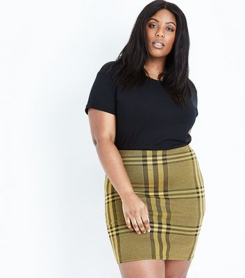 Curves Yellow Wide Check Jersey Tube Skirt