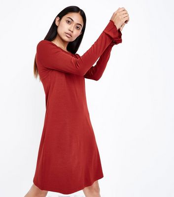 Petite Rust Bell Sleeve Jersey Swing Dress