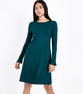 Petite Dark Green Bell Sleeve Jersey Swing Dress