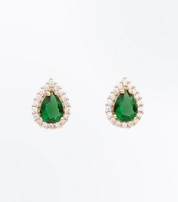 Cubic Zirconia Gold Emerald Stud Earrings