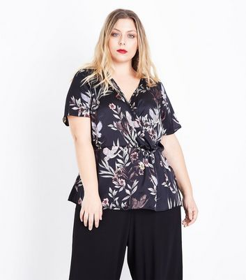 Curves Black Floral and Bird Print Wrap Front Top