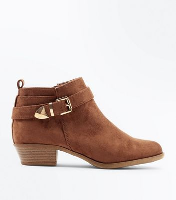 Teens Tan Suedette Buckle Trim Boots