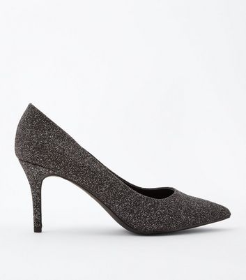 Black Glitter Pointed Court Shoes