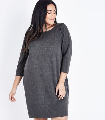 Curves Grey 3/4 Sleeve Jersey Tunic Dress