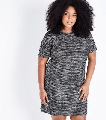 Curves Black Marl Fine Knit Tunic Dress