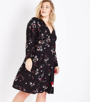 Curves Black Floral Print Tassel Tie Dress